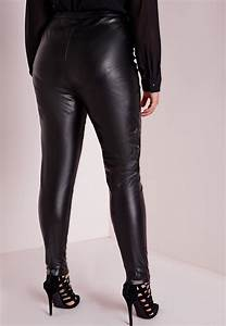 plus size faux leather pants black missguided With letter pants