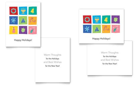 holiday icons greeting card template word publisher