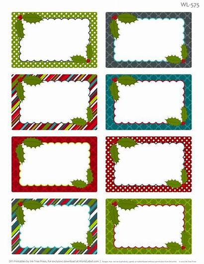 Labels Christmas Printable Tags Templates Blank Label