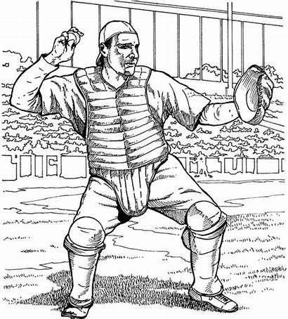 Coloring Baseball Catcher Pages Purplekittyyarns
