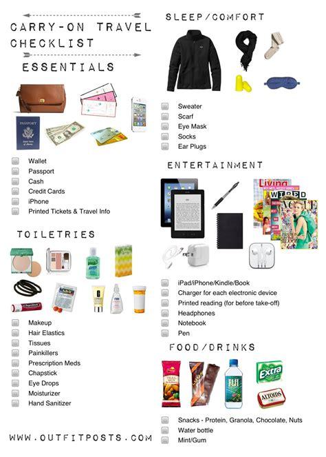 carry on travel checklist via