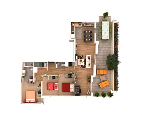 3 Bedroom Floor Plan In 3d by 25 More 3 Bedroom 3d Floor Plans