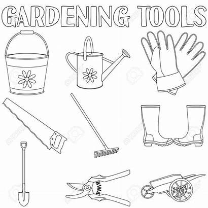 Coloring Garden Gardening Tools Tool Printable Adults