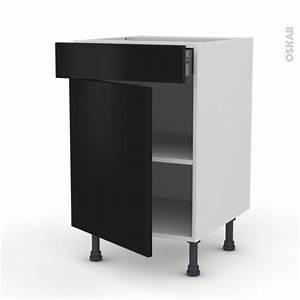 Meuble De Cuisine Noir : meuble de cuisine bas ginko noir 1 porte 1 tiroir l50 x h70 x p58 cm oskab ~ Teatrodelosmanantiales.com Idées de Décoration
