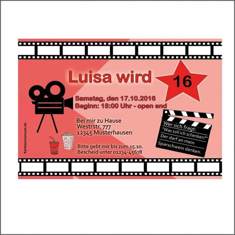 good einladung geburtstag kino vorlage  einladung