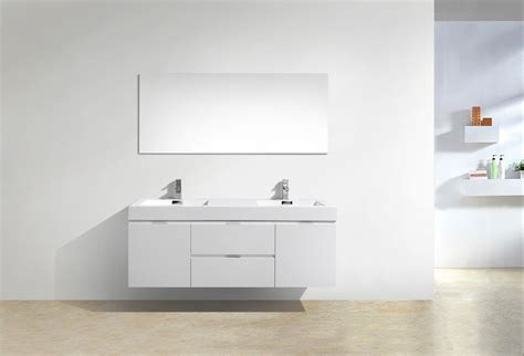 bliss 60quot high gloss white wall mount double sink bathroom