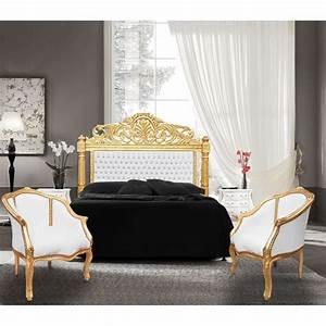 Tete De Lit Bois Blanc : t te de lit baroque simili cuir blanc avec strass et bois dore ~ Teatrodelosmanantiales.com Idées de Décoration
