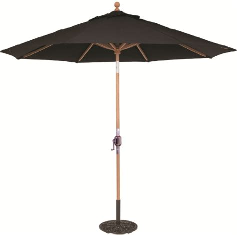 9 wood teak patio umbrella with crank