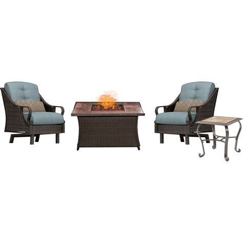 ventura pit chat set with wood grain tile top in