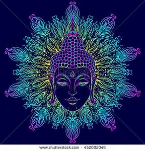 Buddha Face Over Ornate Mandala Round Vector de