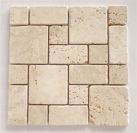 ivory travertine 3 pieced mini pattern tumbled mosaic tile