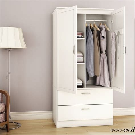White Wardrobe Armoire by South Shore Acapella Wardrobe Armoire In White 5350038