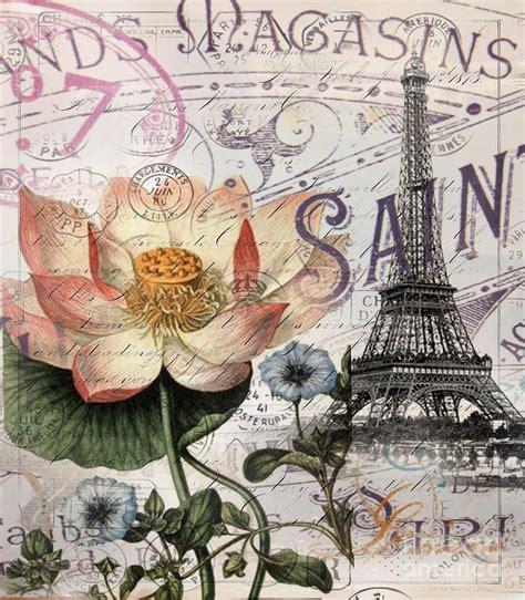 vintage botanical lotus flower eiffel tower digital by cranberry sky