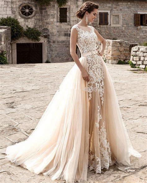 Custom Cap Sleeve White Ivory Champagne Bridal Gown 2017