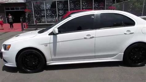white mitsubishi lancer with black rims hillyard rim lions 2009 mitsubishi lancer ralliart with 18