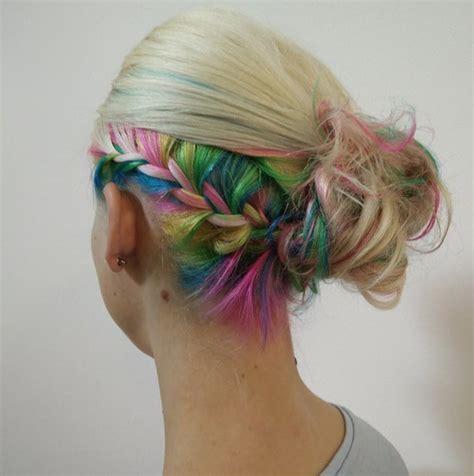 undercut color rainbow hair braid ideas popsugar
