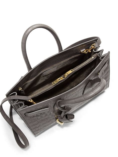 yves laurent black croc embossed nano sac de jour tote yves laurent tote handbags