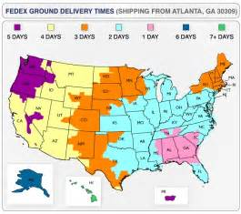 FedEx Ground Shipping Time Map