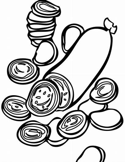Pizza Coloring Toppings Pages Pepperoni Template Clipart