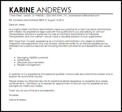 contracts administrator cover letter sample cover letter