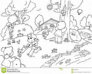 Children Playing In The Park Clipart Black And White ...