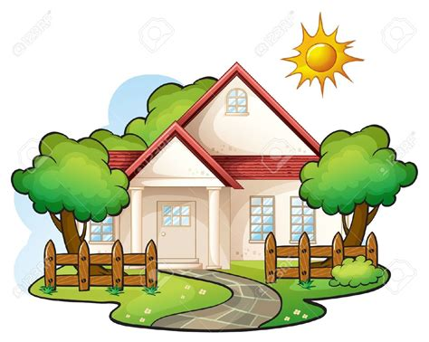Pencil And In Color Landscape Clipart House Garden
