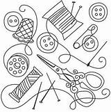 Sewing Collage Urbanthreads Hand Designs Embroidery Needlework Tools Line Patterns Outline Thread Coloring Pages Urban Threads Pattern Quilting Drawings Stitch sketch template
