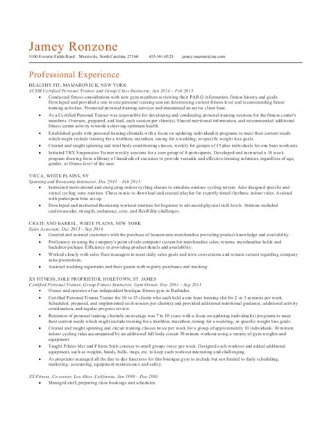 Pilates Trainer Resume by Personal Trainer Resume Resume Format Pdf