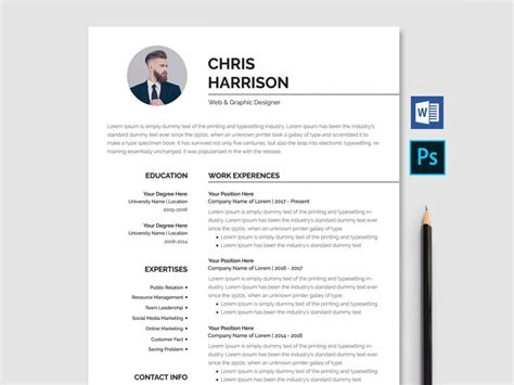Word Resume Free by Professional Resume Template Free Word Psd