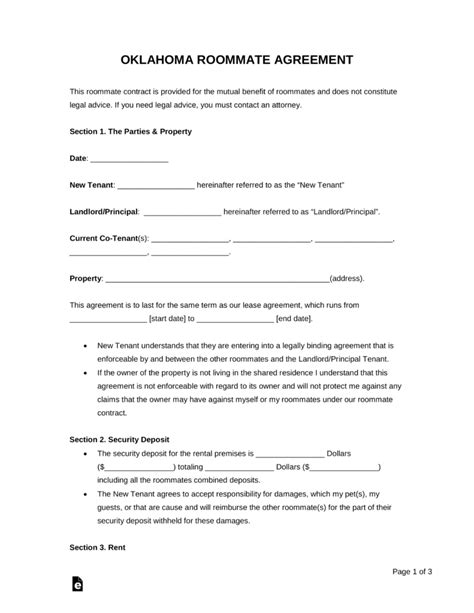 oklahoma living will forms free free oklahoma roommate agreement form pdf word
