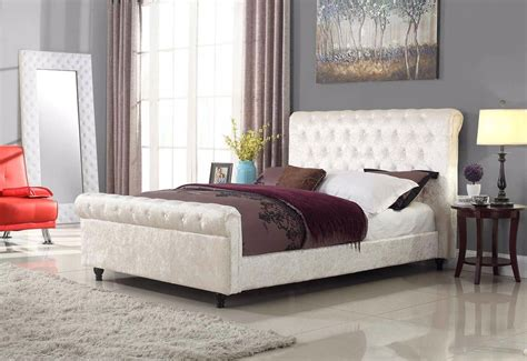 stella crushed velvet white bed bedz