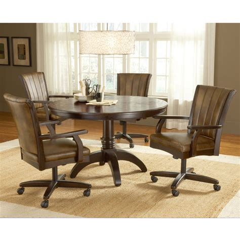 hillsdale grand bay cherry round dining set with caster
