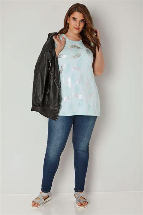 Tshirt Turquoise Imprimé Plume, Taille 44 à 64