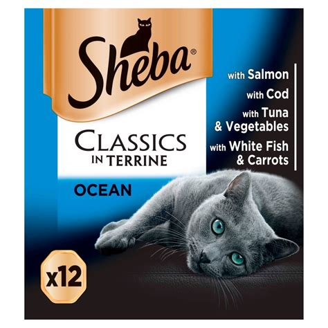 sheba classics adult cat food trays ocean collection