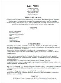 professional records specialist resume templates