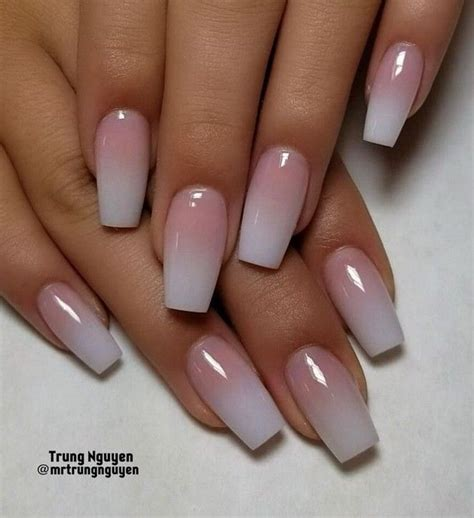 french fade  nude  white ombre acrylic nails