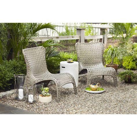 garden treasures tucker bend black steel seat woven patio