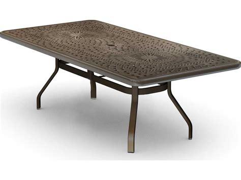 outdoor dining table with umbrella hole homecrest camden cast aluminum 84 x 42 rectangular dining