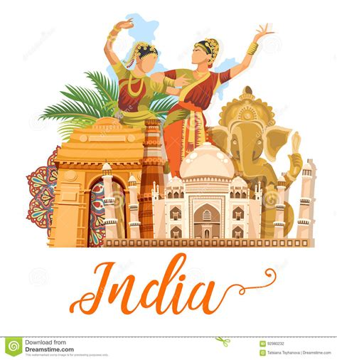 indian travel template  white background  love india