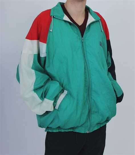 colorful windbreakers vintage green white blue windbreaker sport wear