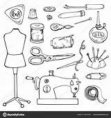 Sewing Tailor Coloring Vector Illustration Accessories Icons Element Isolated Shutterstock Lena Depositphotos sketch template