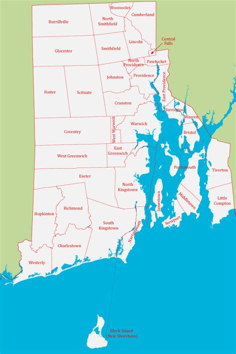 detailed administrative map  rhode island state