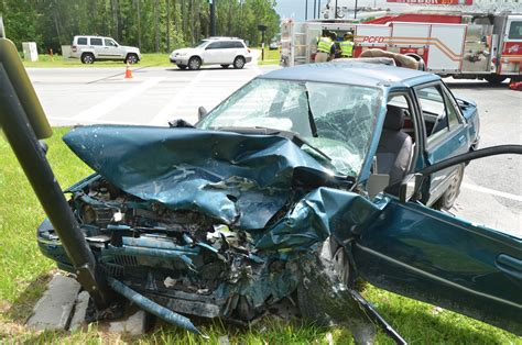 wrecked car before and after child trauma evacuated 2 adults injured after 2 vehicle