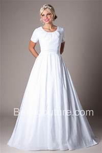 simple a line scoop neck short sleeve taffeta modest With simple modest wedding dress