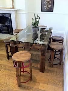 Table Haute En Verre : table en palette 44 id es d couvrir photos ~ Teatrodelosmanantiales.com Idées de Décoration
