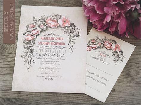 vintage wedding invitation  floral wreath
