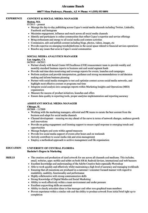 Media Resume by Media Social Media Manager Resume Sles Velvet