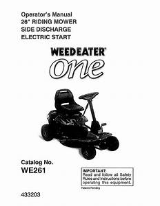 Weed Eater 960240001 User Manual Riding Mower Manuals And