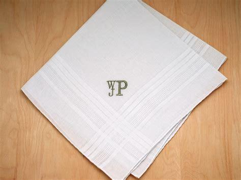 free shipping 3 mens monogrammed handkerchiefs script mens monogrammed wedding hankie w 3 initials font r stacked