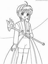 Sakura Coloring Pages Cardcaptor Cardcaptors Card Printable Magic Captors Wand Anime Chibi Holding Syaoran Wands Da Colouring Blank Az Colorare sketch template